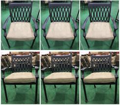 Patio dining chairs set of 6 cast aluminum furniture Tuscany sunbrella cushions image 1