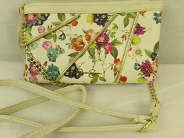 Jessica Simpson Crossbody Convertible Bag White Floral French Cluster Gold - $16.82