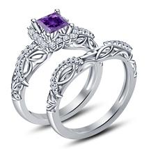 Princess Cut Amethyst 14k White Gold Plated 925 Sterling Silver Bridal Ring Set - $79.64
