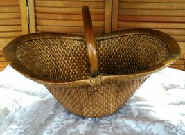 Vintage Chinese Willow Market Basket w/ Wooden Handle image 5