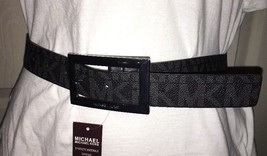 MICHAEL KORS BELT REVERSIBLE BLACK/ CHOCOLATE SILVER BUCKLE MK LOGO MSRP... - $37.61+