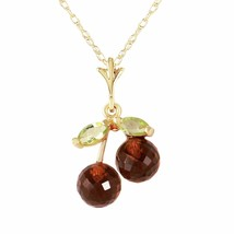 14 Karat Gold Cherry Pie Garnet Peridot Pendant - $219.65