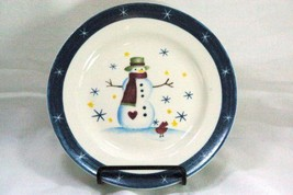 Snowman And Stars Blue Band Christmas Holiday Bread Dessert Plate - $2.76