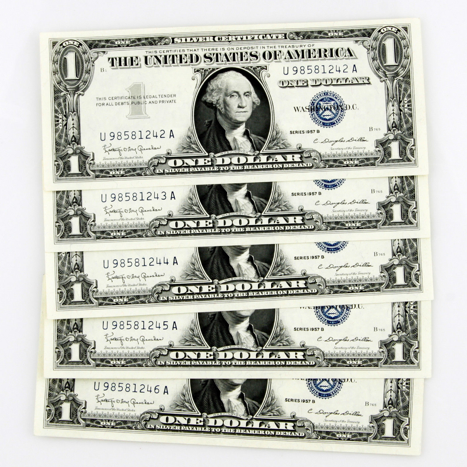 1957 B 1 Silver Certificate 5 Consecutive And Similar Items