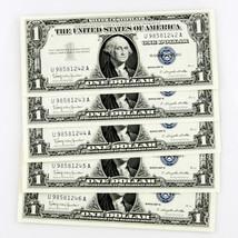1957 B $1 SILVER CERTIFICATE 5 CONSECUTIVE NOTES U98581242A-U98581246A - $69.29