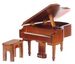 Dollhouse Miniature Piano w/Bench, Walnut Finish #D4150A - $26.86