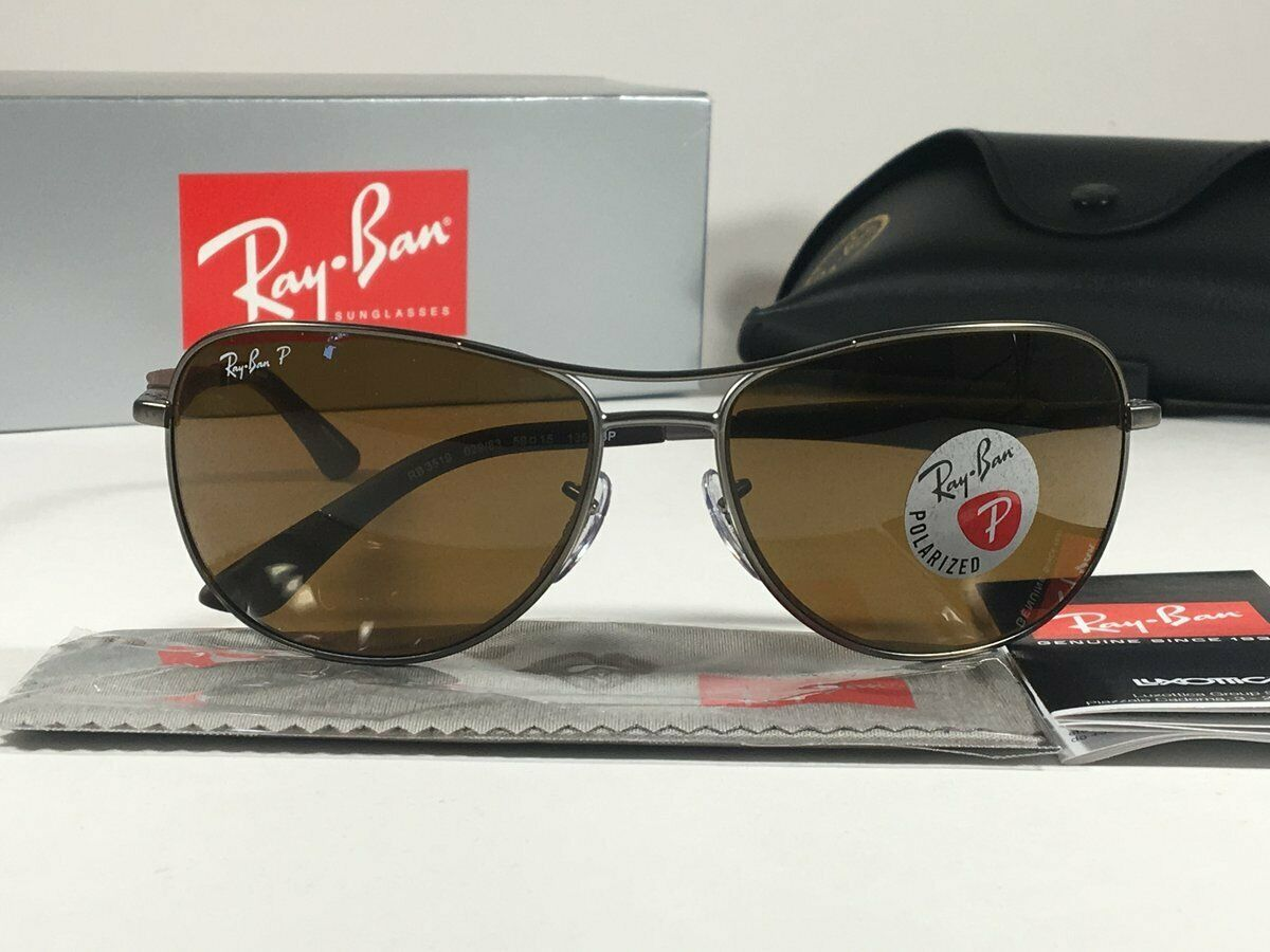 Nuevo Ray Ban RB 3519 029/83 Gunmetal Marrón / W / Marrón Polarizadas Lente 59mm