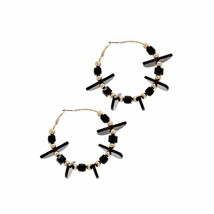 BEADED HOOP EARRING - $11.25