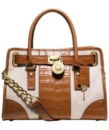 MICHAEL KORS HAMILTON CENTER STRIPE ECRU WALNUT CROC LEATHER SATCHEL BAG... - $219.99