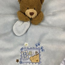 Baby Starters Blue Bear Plush  Security Baby  Blanket Rattle Nursery Carry Along - $13.99