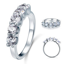 1.25 Ct Five 5 Stone Solid 925 Sterling Silver Ring Bridal Jewelry Wedding Band - $99.99+
