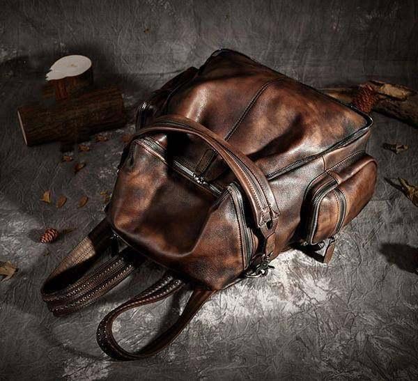 Sale, Vintage Leather Women Backpack, Leather School Backpack, Leather Designer  image 3
