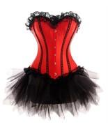Women's Red Satin Black Tutu Skirt Gothic BurlesqueCostume Overbust Cors... - $60.45