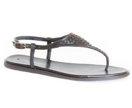 NWT VIA SPIGA Aislin2 Womens Black Leather Sandals Shoe, Size 5.5M - $53.10
