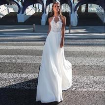 Wonderful Chiffon Crystals Halter Neckline A-line Wedding Dresses Elegant Sleeve
