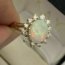 2.50Ct Oval Cut Fire Opal Halo Women's Engagement Ring 14k Yellow Gold F... - $102.95