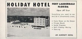 Holiday Hotel Fort Lauderdale Florida Private Ocean Beach 1956 Travel To... - $10.99