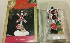 "Hallmark Keepsake Magic ""Deer Crossing"" Ornament With RR Blinking Red Li... - $6.99"