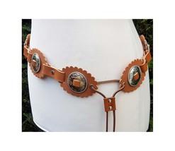 Brown leather belt - Bohemian belt - Western belt with conchos - Hippie ... - $74.00