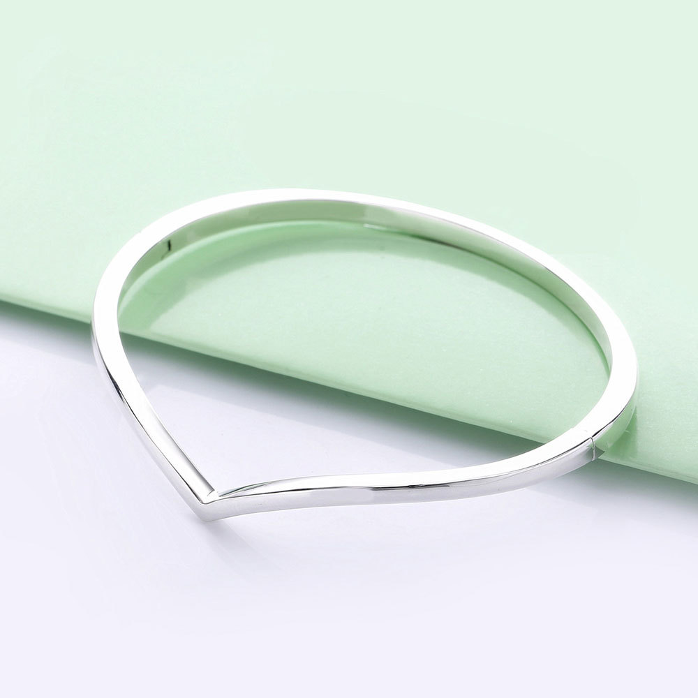 925 Sterling Silver Smooth Wish Love Heart Bangle Bracelet