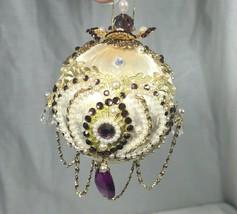 Vintage 60s/70s Satin Purple Gold Pearl Beaded Christmas Ornament Ball - $27.55