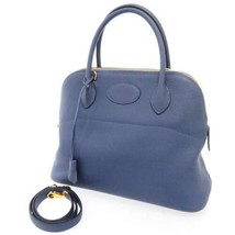 HERMES Bolide 31 Taurillon Clemence Blue Brighton Gold HW Handbag #C France - $8,164.20