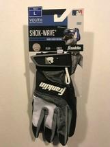 Franklin Shok-Wave Batting Gloves - White/Black/Gray - Youth Large - New... - $10.88