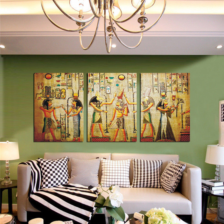 Large Framed Egyptian Ancient Paintings Canvas Print Wall Art Home 3 Piece