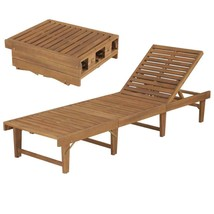 vidaXL Solid Acacia Wood Folding Sun Lounger Chaise Bed Sunbed Seat Chair - $137.99