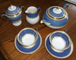 Wedgwood China ULANDER POWDER BLUE Teapot Sugar Creamer 2 Cups w/Saucers - $550.00