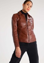 New Classic Slim Fit Stylish Soft Lambskin Leather Jacket for Women -74