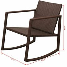vidaXL Outdoor Rocking Chair Table 3 Piece Poly Rattan Brown Garden Furniture image 8