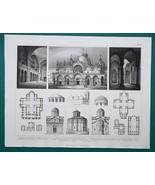ARCHITECTURE Romanesque Constantinople Athens Venice - 1870 Engraving Print - $16.20