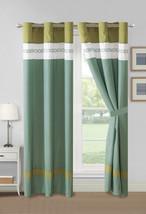 4-Pc Alexis Embroidery Diamond Geometric Curtain Set Sea Green Sage White Blue - $40.89