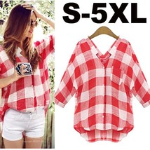 Women's Summer Blouse Casual Plaid Cotton Woman Shirt Plus Size S - 5XL