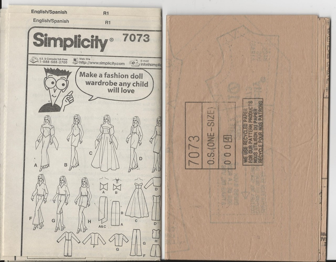 Barbie Clothes Pattern Simplicity 7073, Dress Skirt Pants Top, 11.5 Fashion Doll