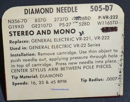 SUPERB Diamond Needle 505-D7 Stereo and Mono for GE VR-221 VR-222 VR-22 image 2