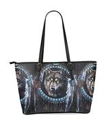 InterestPrint Wolf Dream Catcher Women's Leather Tote Shoulder Bags Hand... - $39.75