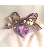 Purple Gold & White Acrylic Pour Swirl Painted Glass Heart Ornament Ribb... - $9.99