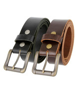 "Roller Buckle Casual Jean Belt Full Grain Leather Belt, 1-1/2"" Wide - $26.95"