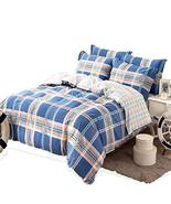ONITIVA [100% Cotton] Tartan Plaid Simple Style Blue 4PC Duvet Cover Set... - $88.31