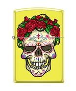 ZIPPO Skull With Roses Neon Yellow Lighter Sugar Skull Windproof Engrava... - $30.99