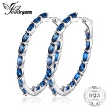 JewelryPalace Huge 13.5ct Natural Londun Blue Topazs Hoop Earrings 925 S... - $104.52