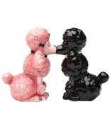 Kissing Poodles Dogs Magnetic Ceramic Salt and Pepper Shakers Set Kitche... - $14.96