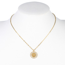 UE- Gold Tone Designer Necklace, Royal Crown Pendant & Swarovski Style C... - $18.99