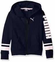 Puma Girls Black Pink Hoodie Long Sleeve Full Zip Up Jacket Size 5 Navy Blue NEW - $15.62