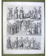 PERSIA Eatsern People Costume Kurds Kirghis Georgia - SUPERB 1844 Antiqu... - $12.15
