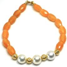Bracelet or Jaune 18K 750, Cornaline Ovale Facettes, Perles, Boules Cern... - $303.80