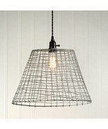 Farmhouse new Wire Basket Hanging Light in Distressed Metal - $75.00