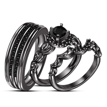 His & Her 925 Silver Rd AAA Diamond Wedidng 3Pcs Trio Ring Set 14k Black... - $152.99